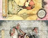 Cartoon Girl Character - Decorative Decoupage Paper - 3 PCS Yellow Pink Black