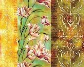 Floral Pattern - Decorative Decoupage Paper - 3 PCS Green Pink Yellow