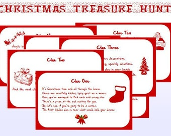Christmas Scavenger Hunt Clues.Printable Game Clues Etsy