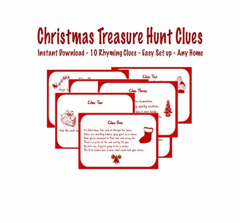 photograph relating to Christmas Scavenger Hunt Printable Clues known as Indoor Xmas Treasure Hunt Clues Printable - Immediate Down load