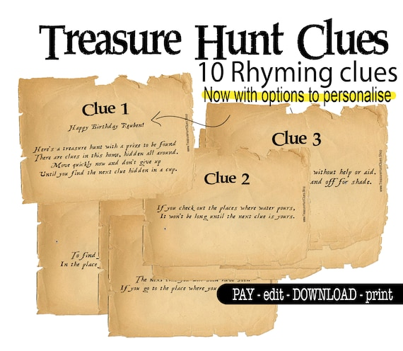 Indoor Rhyming Treasure Hunt Clues Scavenger Game Printable Etsy