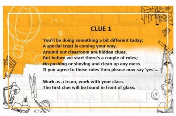 Classroom Treasure Hunt Clues for any School
