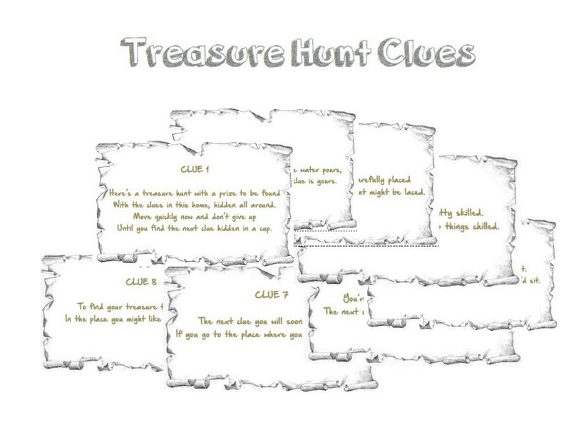 image relating to Printable Scavenger Hunt called Indoor Rhyming Treasure Hunt Clues Printable - Prompt Down load PDF