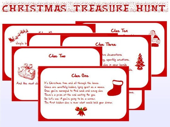 Indoor Christmas Treasure Hunt Clues Printable Instant
