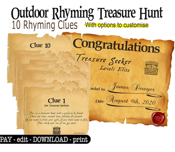 Outdoor Rhyming Riddles Treasure Hunt Scavenger Hunt For Children Teenagers And Adults With Christmas And Birthday Messages By Openchests Catch My Party