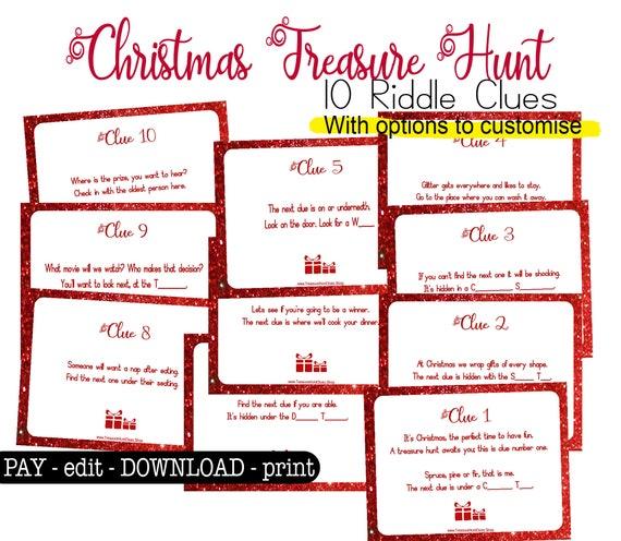 Christmas Riddles Treasure Hunt Clues Set Scavenger Etsy