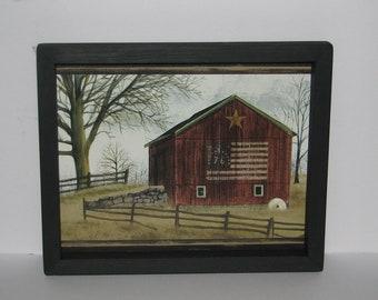 Barn Bicentennial Flag Farm Fence Star 9 Inch X 11 Inch Primitive Country  Wall Decor