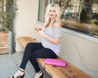 White Striped Bardot Maternity Shirt, Pregnancy Announcement Shirt, Pregnancy Announcement, Gender Reveal, Baby Announcement, Gender Reveal