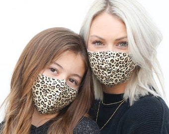 Leopard Mommy and Me Face Mask, Face Mask, Leopard Mask, Mask, Face Mask with Filter, Mask, Face Mask Washable, Kids Face Mask, Face Mask