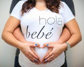 Hola Bebe Maternity Shirt, Pregnancy Announcement Shirt, Pregnancy Announcement, Gender Reveal, Baby Announcement, Gender Reveal Shirt