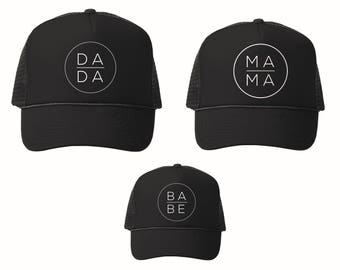 Family Hats Mama Dada and Babe,  Mom Hat, Black Mama Hat, Black Mom Hat, Mother, Mama, Mama Life Hat, Dad Hat, Baby Trucker Hat