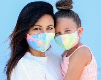 Tie Dye Face Mask, Face Mask, Mommy and Me, Mask, Face Mask with Filter, Mask, Face Mask Washable, Kids Face Mask, Face Mask Adults, Neon