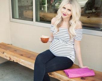 White Striped Bardot Maternity Shirt, maternity shirt, maternity, maternity top, pregnancy top, pregnancy shirt, bardot pregnancy