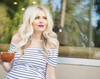 White Striped Bardot Maternity Shirt, Maternity Gift, Boy Baby Shower Gift, Girl Baby Shower Gift, Pregnancy Gift, Baby Shower Gift, Baby