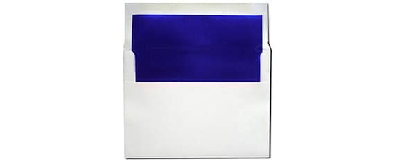 20 white with blue foil lined envelopes a7 size etsy
