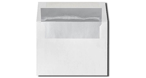 20 white with shiny silver foil lined envelopes size a7 a2 etsy