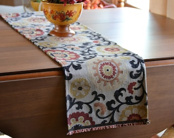 Modern Table Runner, Fall Floral Table Runner, Entryway Runner, Fall Table  Runner, Formal Dining, Mediterranean Decor, Tapestry Table Runner