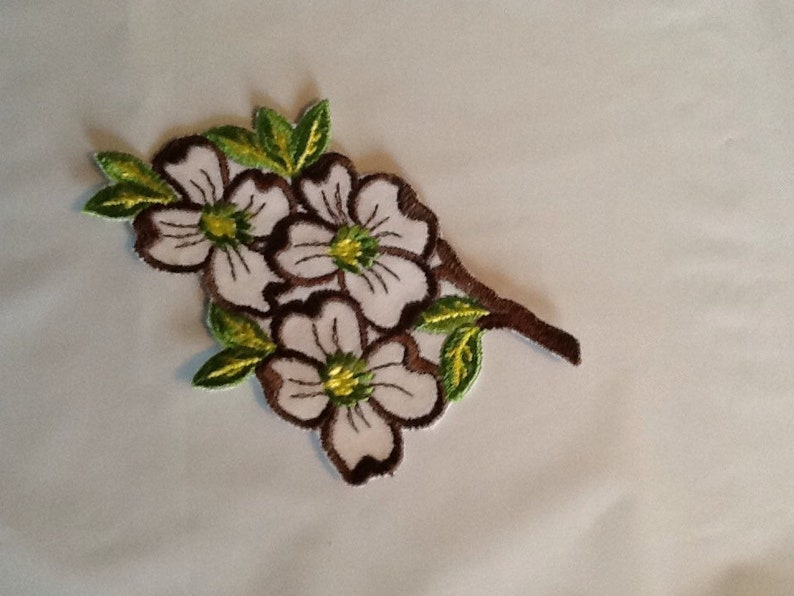 Dogwood embroidered sew on applique white flowers sew on etsy