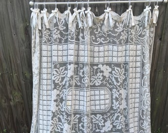 Shower Curtain Shabby Nordic Chic Lace Antique Bobbin Cottage Ruffled Home Decor Bathroom