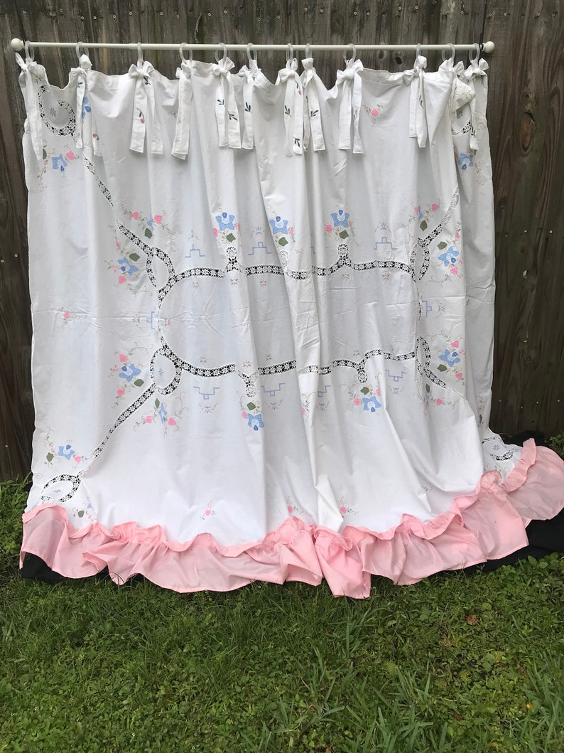 Shower Curtain Shabby Elegance Bows Cottage Chic Embroidery Etsy