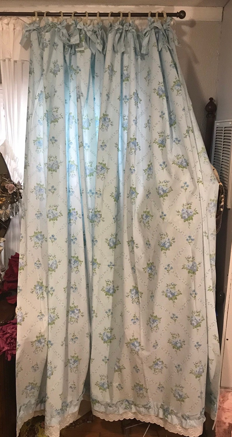 Shower Curtain Blue Shower Curtain Cabbage Roses Bows Vintage Fabric Lace French Country Cottage Chic Curtain Bathroom Decor Home Decor