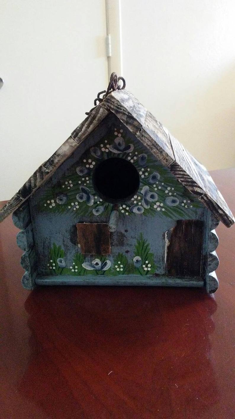 Shabby Rustic Chic Bird House Hut Garden Feeder Table