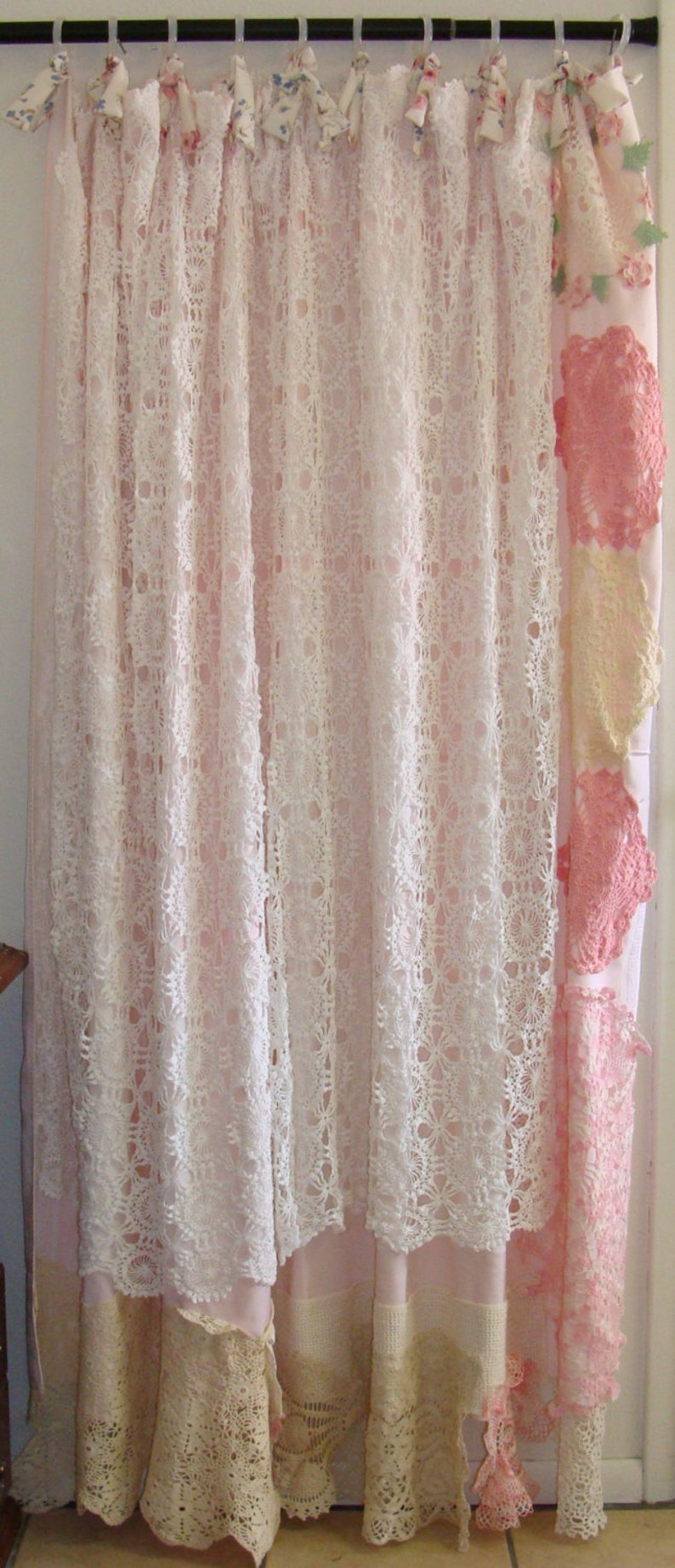 Shabby Chic Shower Curtain Vintage Crochet Linen Bows Etsy