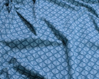b811f60fc02 Fabric cotton elastane Single Jersey little leaves petrol turquoise
