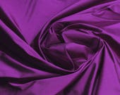 Fabric pure silk Dupioni silk tafetta magenta purple fine plain