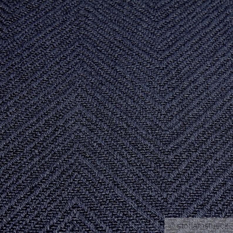 Fabric linen cotton polyester herringbone dark blue upholstery 35.000 Martindale