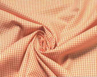 Fabric pure cotton little Vichy check orange white 1.5 mm