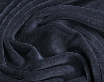Fabric pure cotton nicky velour graphite grey kbA GOTS soft C. PAULI india ink