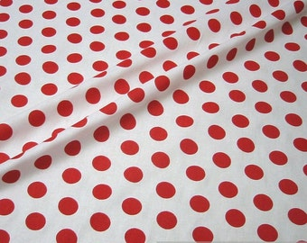 fabric pure cotton big dots white red