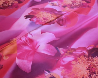 Fabric polyester dress taffeta pink orchid purple printed opaque