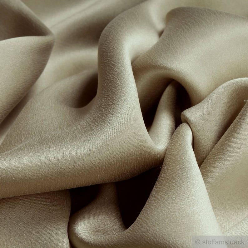 Fabric pure silk satin champagne cuddly flowing light