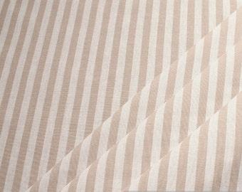 Fabric pure cotton farmer's stripe beige white 1 cm
