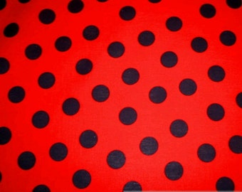 fabric pure cotton big dots red black
