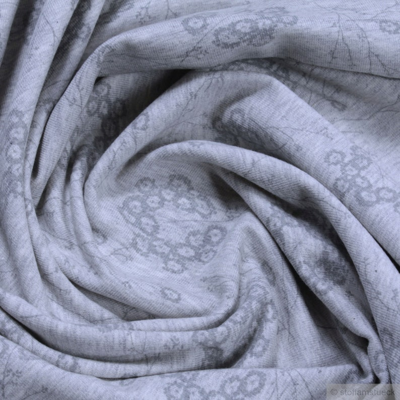 80a2fe85761 Fabric organic cotton elastane Single Jersey light grey | Etsy
