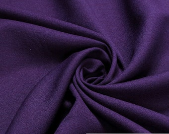 Fabric polyester rayon Crêpe de Chine aubergine soft blendend material