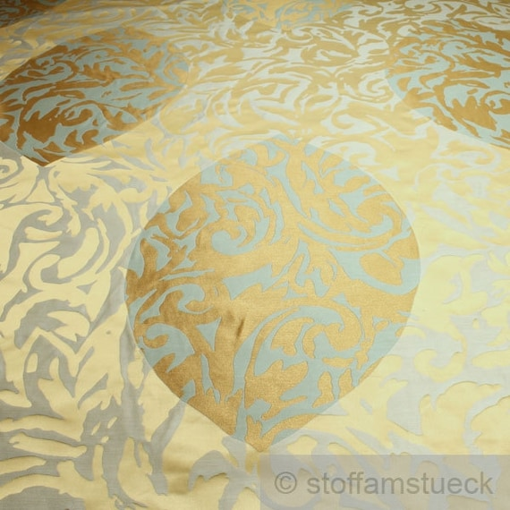 stoff trevira cs jacquard gold mint b1 schwer entflammbar etsy. Black Bedroom Furniture Sets. Home Design Ideas