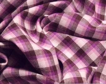 Fabric pure cotton flanell check dark brown purple crease-resistant