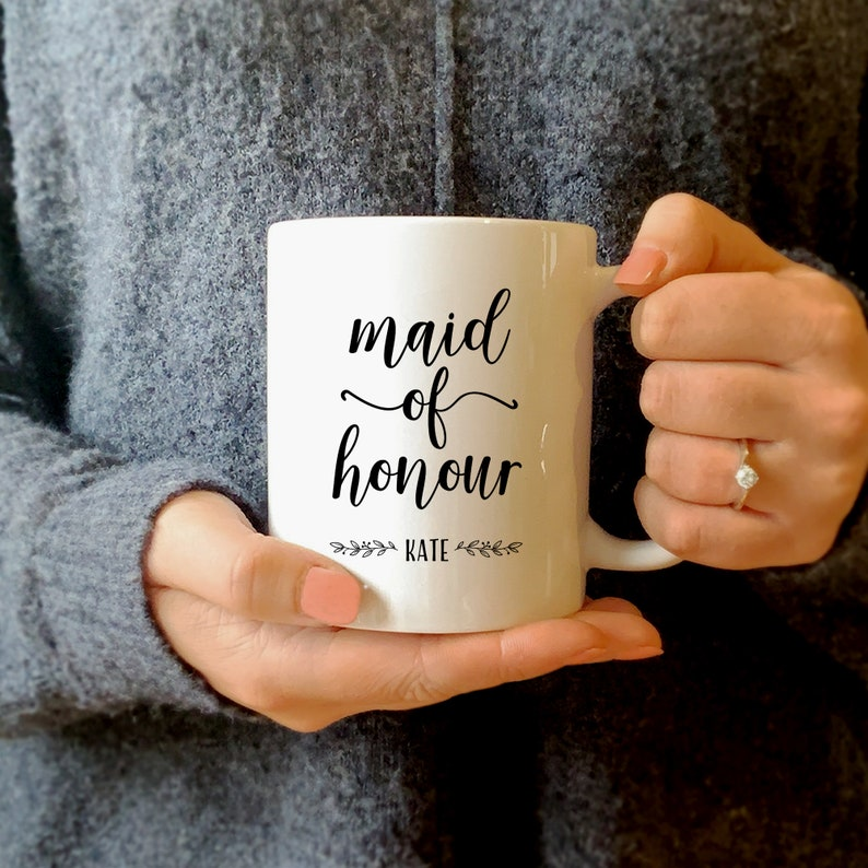 Personalised Maid of Honour or Honor Mug 11oz Printed Ceramic Cup with Name Bridesmaid Proposal Gift Wedding Bridal Shower Hen Party Present