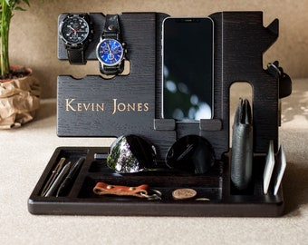 Fathers Day Gift Personalized Docking Station Nightstand Valet Wooden Phone Stand IPhone Charging Husband