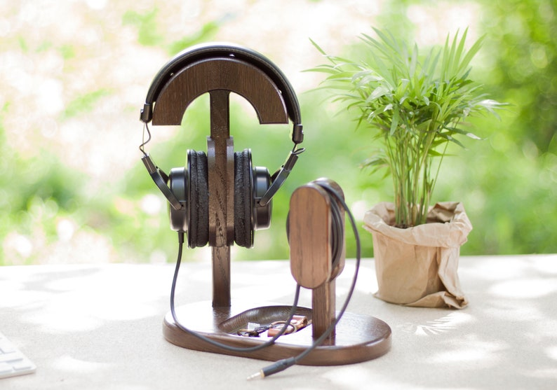 custom engraved wooden headphone support stand - great college gifts guys