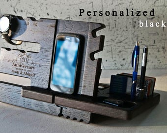 Docking Station,wood gifts for him, 5th anniversary gift for her, wood anniversary 5 year Personalized Custom,iPhone 7.Samsung Galaxy S7