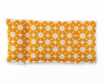 Eye Pillow / Three Sectioned / Corn Eye Pillow /  Cold Pack / Warm Pack / Sinus Pressure / Headaches / Orange White Beige / Starburst