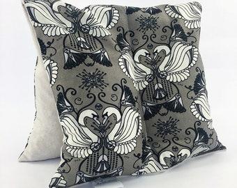 Large Corn Bag / Sleepy Time / Lavender and Chamomile / Black White Grey / Swans