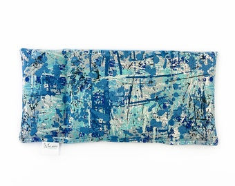 Eye Pillow/ Migraine Relief / Three Section Corn Eye Pillow / Dried Lavender Or No Scent/ Blue / Paint Spatters