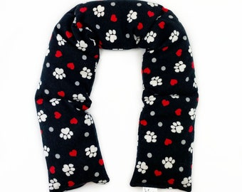 Animal Lover Neck Wrap / Corn Heating Pad / Microwavable Corn Neck Wrap / Therapeutic Wrap / Red / Black / White / I Heart Paws