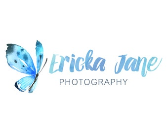Watercolor Logo and Watermark - Butterfly -  Script Font - Professional Photography Logo Design - Watermark - Premade Logo Design - PL12